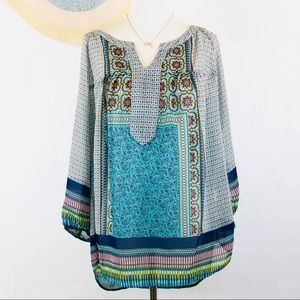 Anthro Fig and Flower boho peasant top 1X
